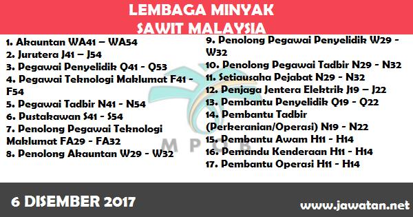 Jawatan Kosong di Lembaga Minyak Sawit Malaysia