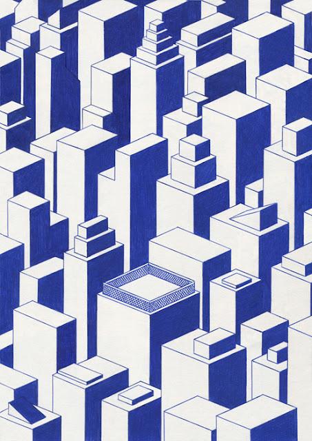 """City"" por Kevin Lucbert | dibujos geometricos artisticos, imagenes chidas, abstractos, cool art drawings"