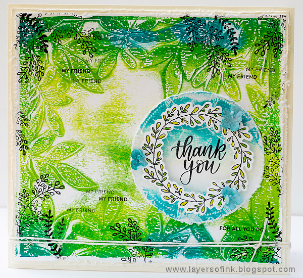 Layers of ink - Gel Printed Leaf Frame Tutorial by Anna-Karin Evaldsson for the SSS Sending Sunshine release blog hop