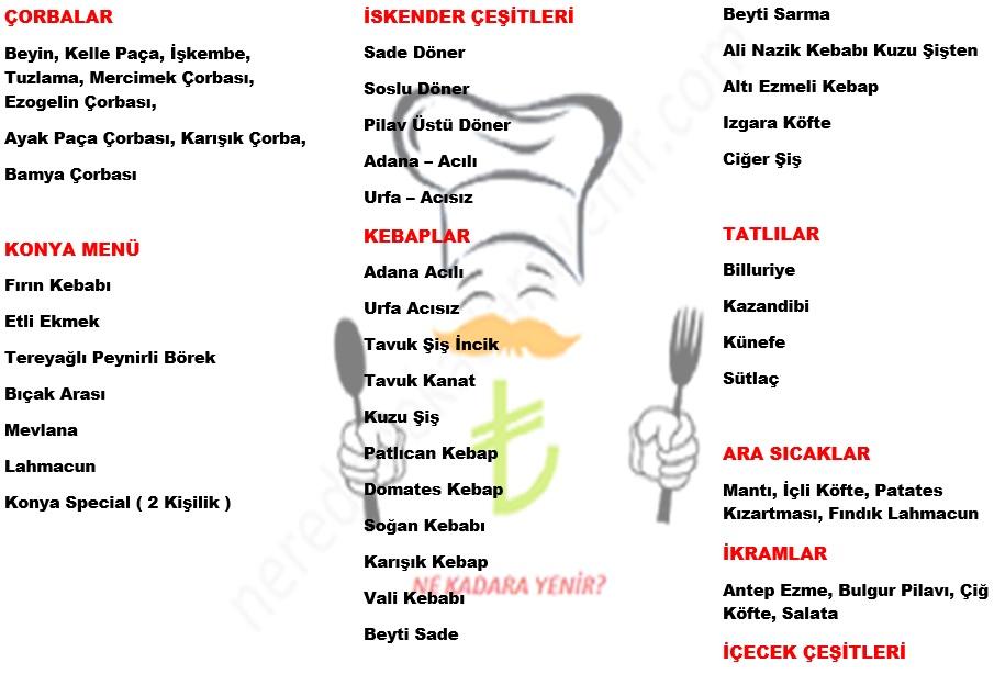 konyalı ahmet usta menü listesi