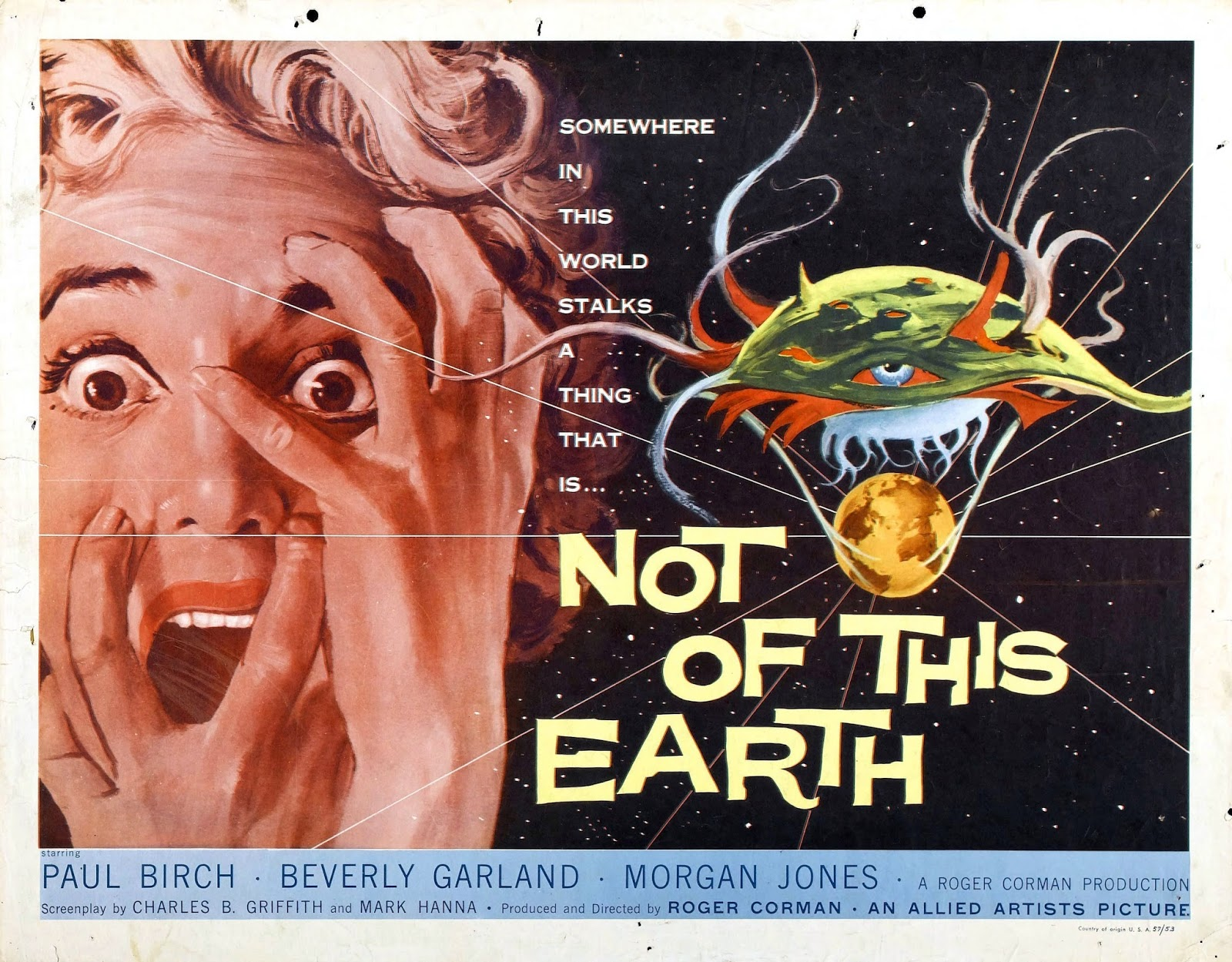 Not of This Earth is an independently made 1957 American black-and-white  science fiction film produced and directed by Roger Corman for his Los  Altos ...