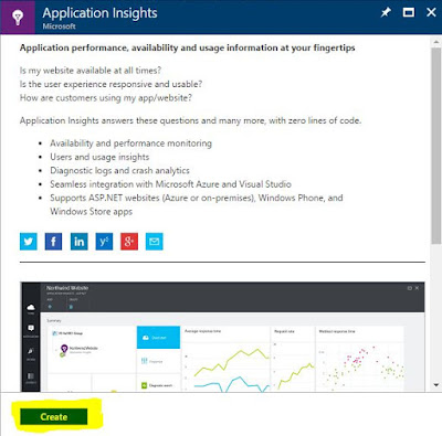 select Application Insights and click Create