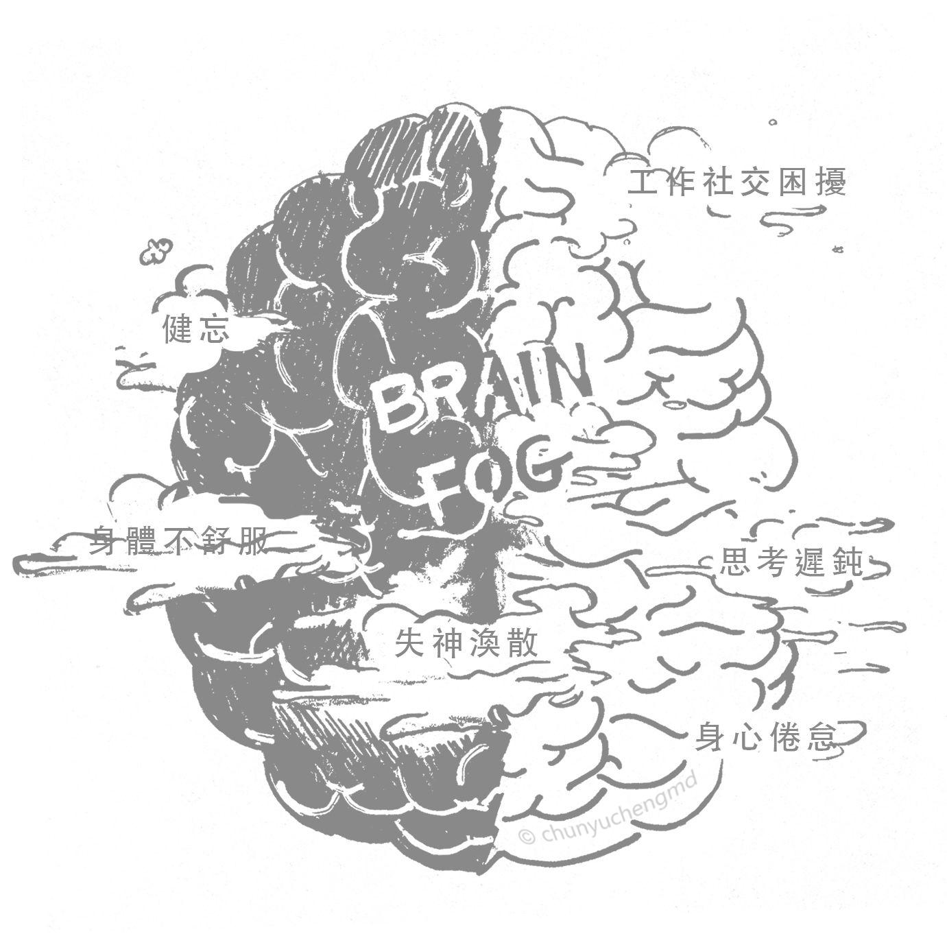 腦霧現象(Brain Fog),Brain指的是我們的「腦」,Fog就是「濃霧」的意思,是「大腦三原力」產生失調、退化的症狀表現。