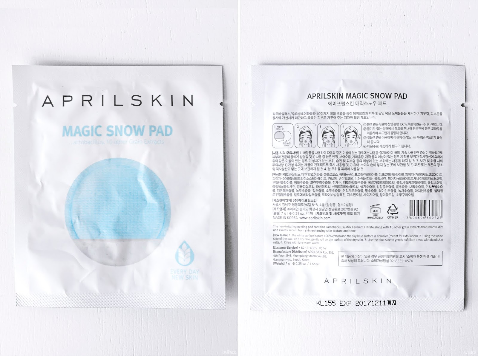 lavlilacs AprilSkin Magic Snow Pad packaging