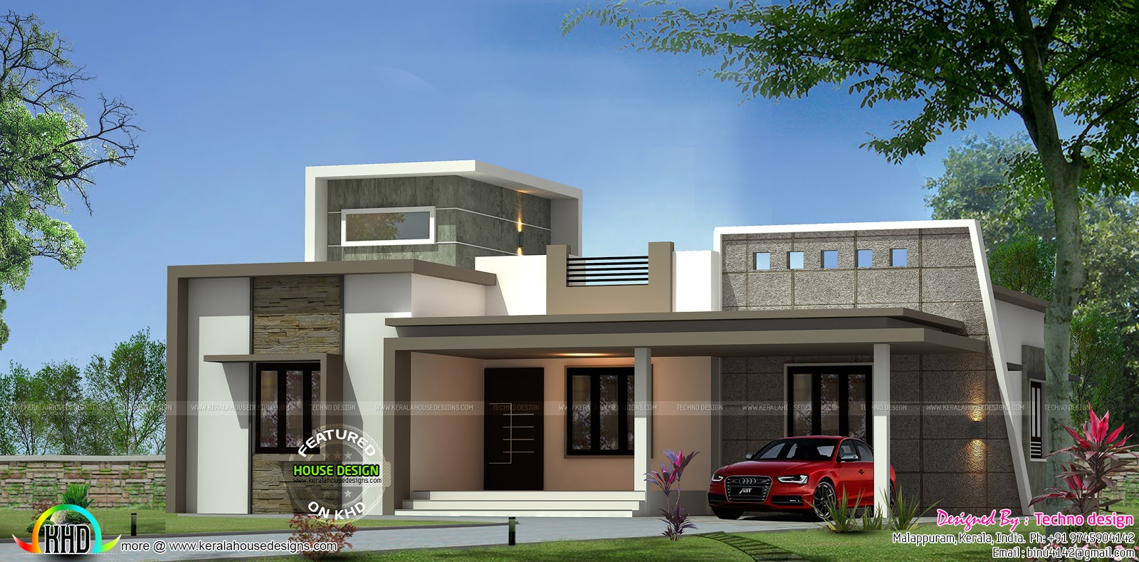 Contemporary one floor 3 bedroom home kerala home design for One floor contemporary house design