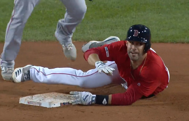 JD Martinez dives back into second base 8/9/2019