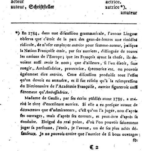 """Neue französische Grammatik 1797 """"autrice"""""""