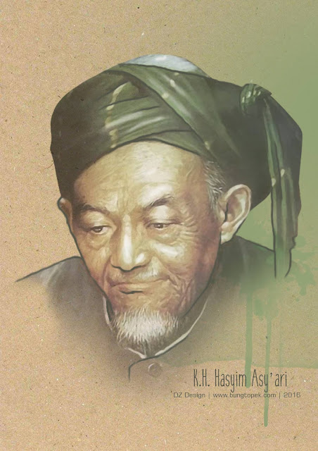 KH. HASYIM ASY'ARI In Sketch Painting