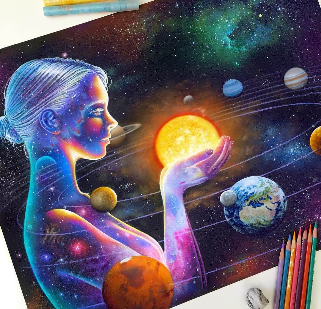 10-Star-Gazing-Lady-Glowing-Colorful-Drawings-Morgan-Davidson-www-designstack-co
