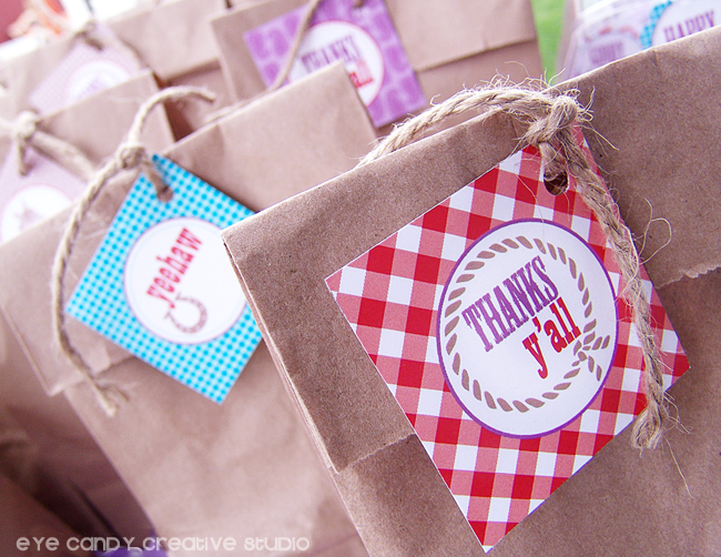 cowboy party favor bags, yeehaw, thanks yall toppers, gingham