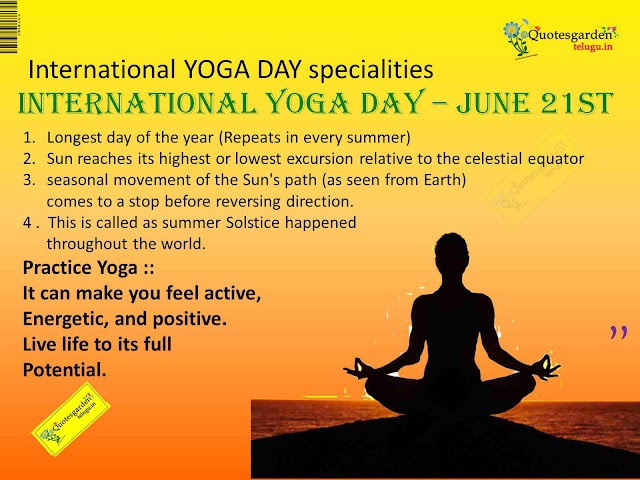 International Yoga Day - Specialties in International Yoga Day - Best Quotes and messages for World yoga Day - June 21