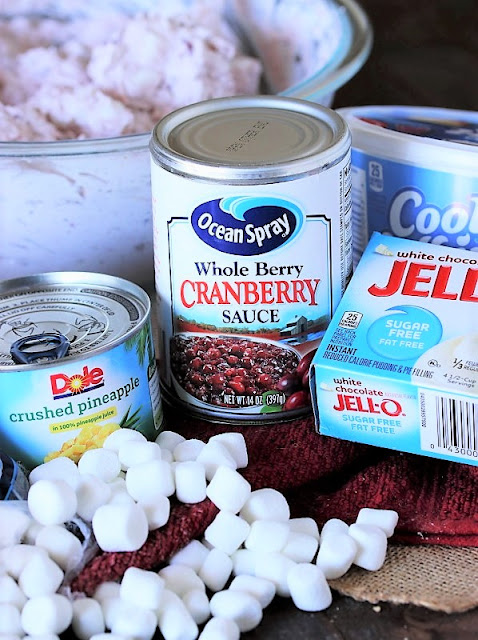 White Chocolate Cranberry Fluff Salad Ingredients Image