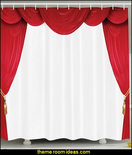 Curtain Classical Theater Operahouse Movie Lover Stage Vintage Decor  Digital Print Polyester Fabric Crimson White Shower