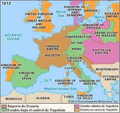 La mayor extensión del Primer Imperio de Napoleón I (1812).