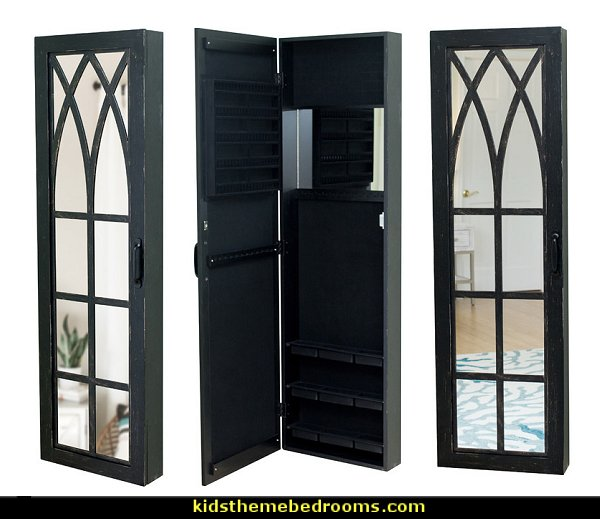 Black Arch Jewelry Armoire  Gothic bedroom ideas - Gothic bedroom decor - Gothic bedding - Gothic wall decorations - Gothic furniture - Gothic Wall Murals - Gothic chic - Victorian Gothic boudoir themed decor - gothic living room - vampire bedroom decorating ideas - Graveyard bedroom ideas - Gothic style bedroom decorating ideas