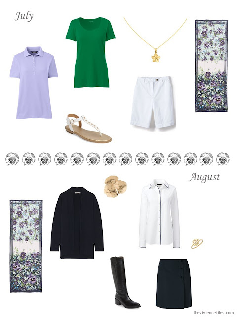 July and August outfits in purple, green, navy and white