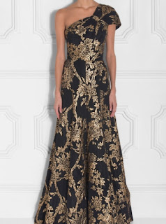 Andrew GN one shoulder cap sleeve black and gold jacquard gown