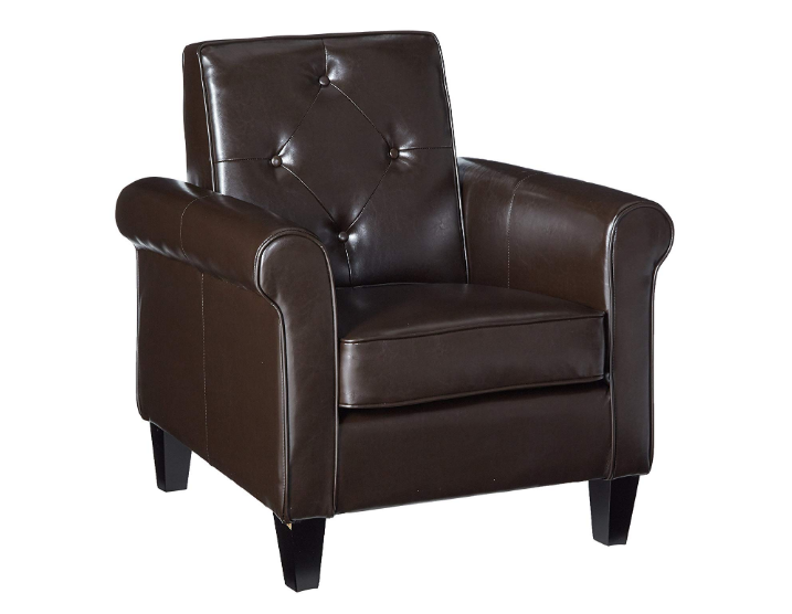 Barzini Brown Leather Club Chair