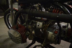 the engine of this custom cafe racer