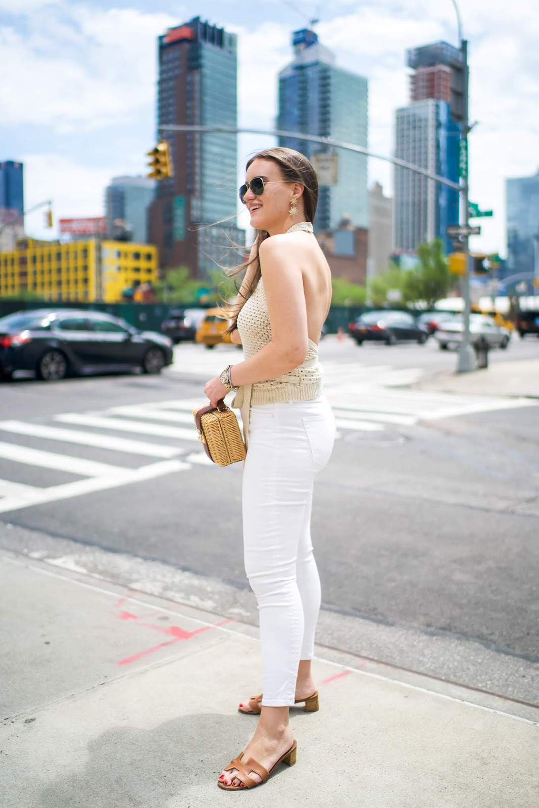 Hermes Sandals styled by popular New York fashion blogger, Covering the Bases