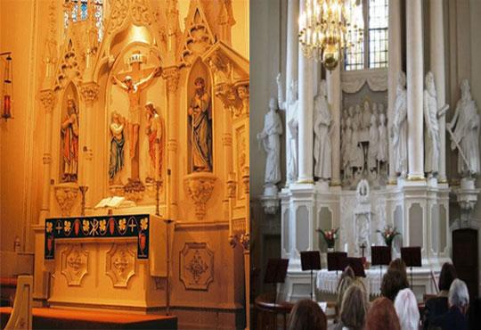 Imagens de escultura no altar da Igreja Luterana