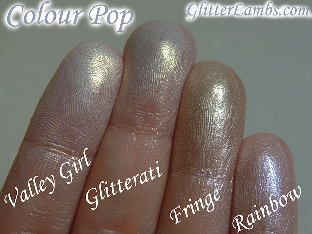 ColourPop Super Shock Shadows Eyeshadows Swatches Review by www.GlitterLambs.com Take It Slow, Let Me Explain, Valley Girl, Glitterati, Fringe, Rainbow Hello Kitty, Bubbly, Tea Party, Sugar, Birthday Girl www.Colourpop.com