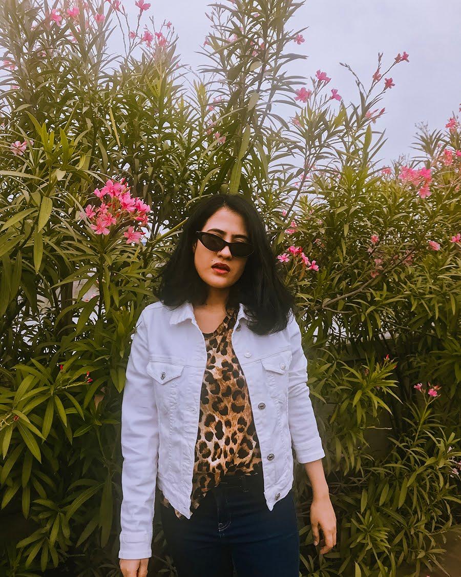 leopard blouse, jaguar print, leopard print top, white denim jacket