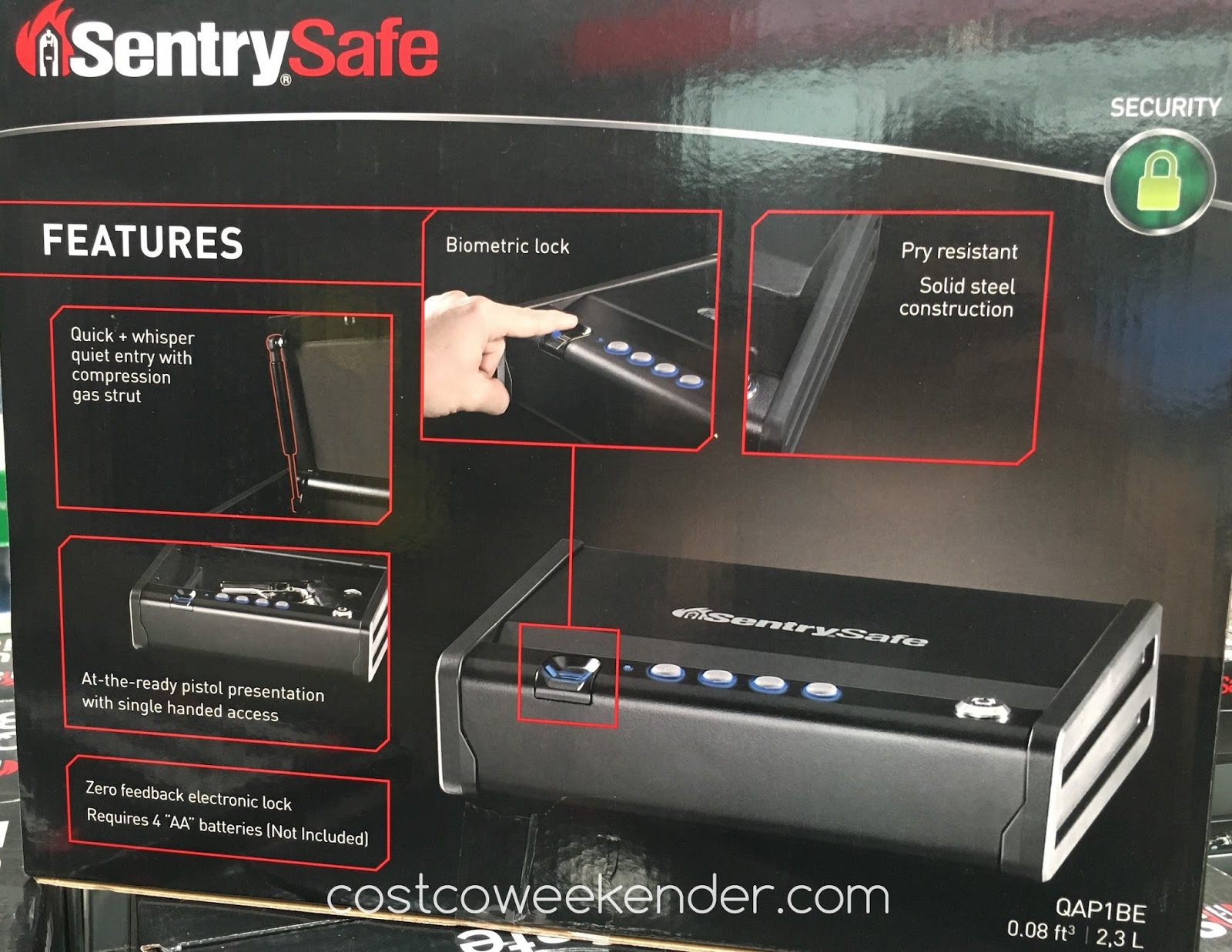 Costco 841165 - SentrySafe Quick Access Biometric Pistol Safe - keeps your firearm away from the wrong hands