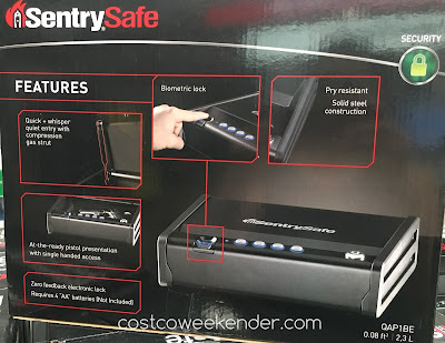 Costco 841165 - SentrySafe QAP1BE Quick Access Biometric Pistol Safe - keeps your firearm away from the wrong hands