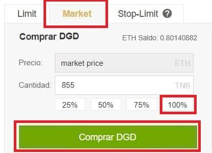 Guía Comprar Paso a Paso Español Moneda DigixDAO (DGD)