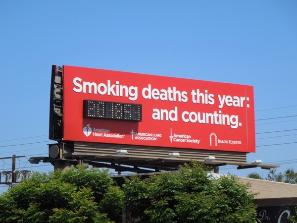 Smoking deaths red counter billboard