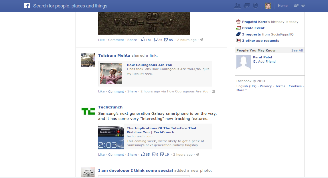 Facebook Newsfeed after installing AdBlock Plus which removed all suggested pages and Ads