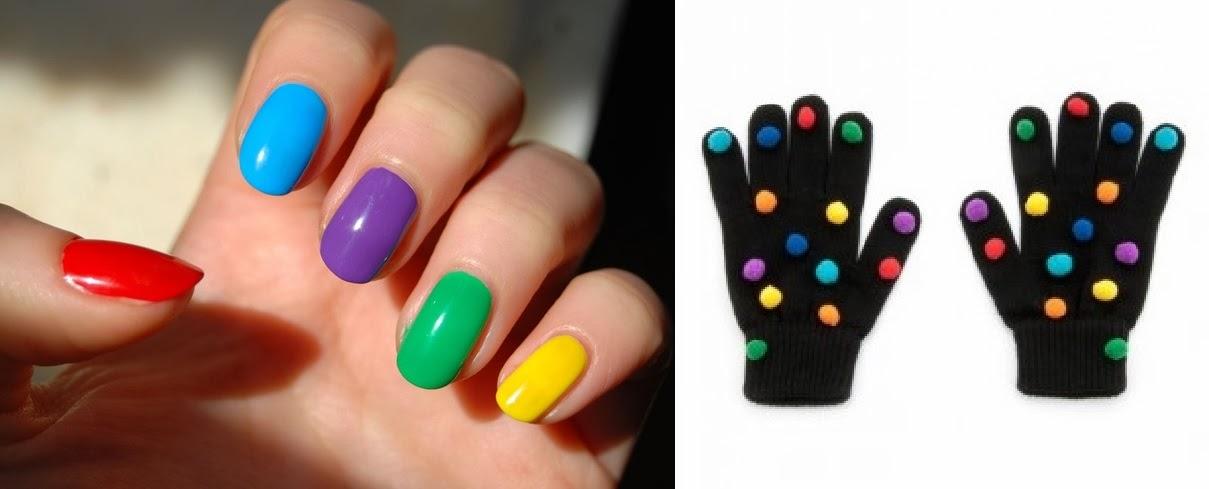 ponponlu eldiven, renkli, siyah