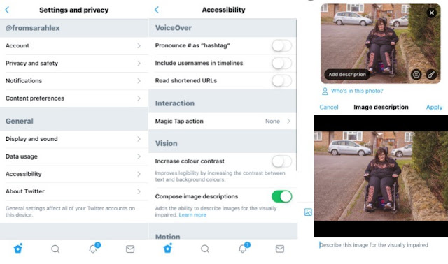 Screenshots on how to use alt text for Twitter