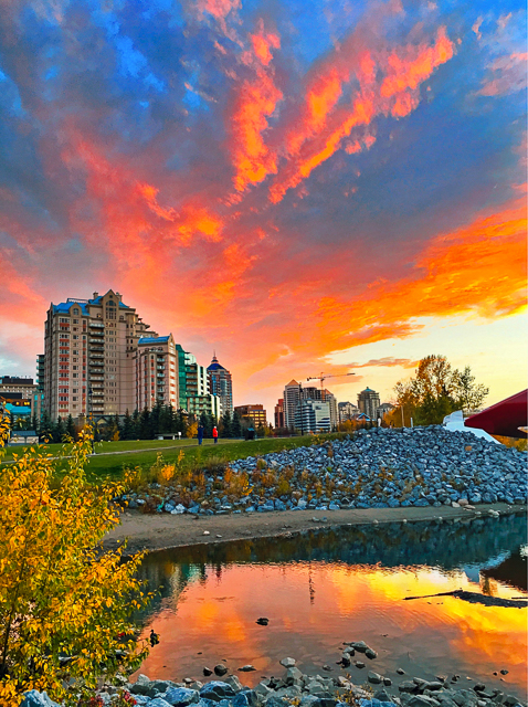 Prince's Island Park - best place for sunsets in Calgary! The Peace Bridge with the city in the background.