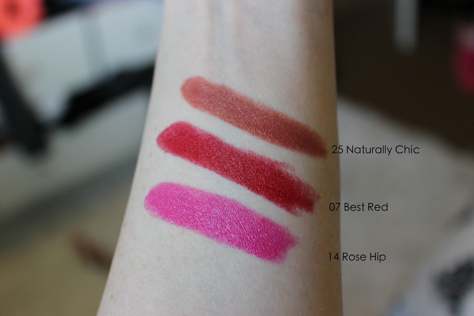 Milani Color statement lipstick swatches review 14 rose hip 07 best red 25 naturally chic