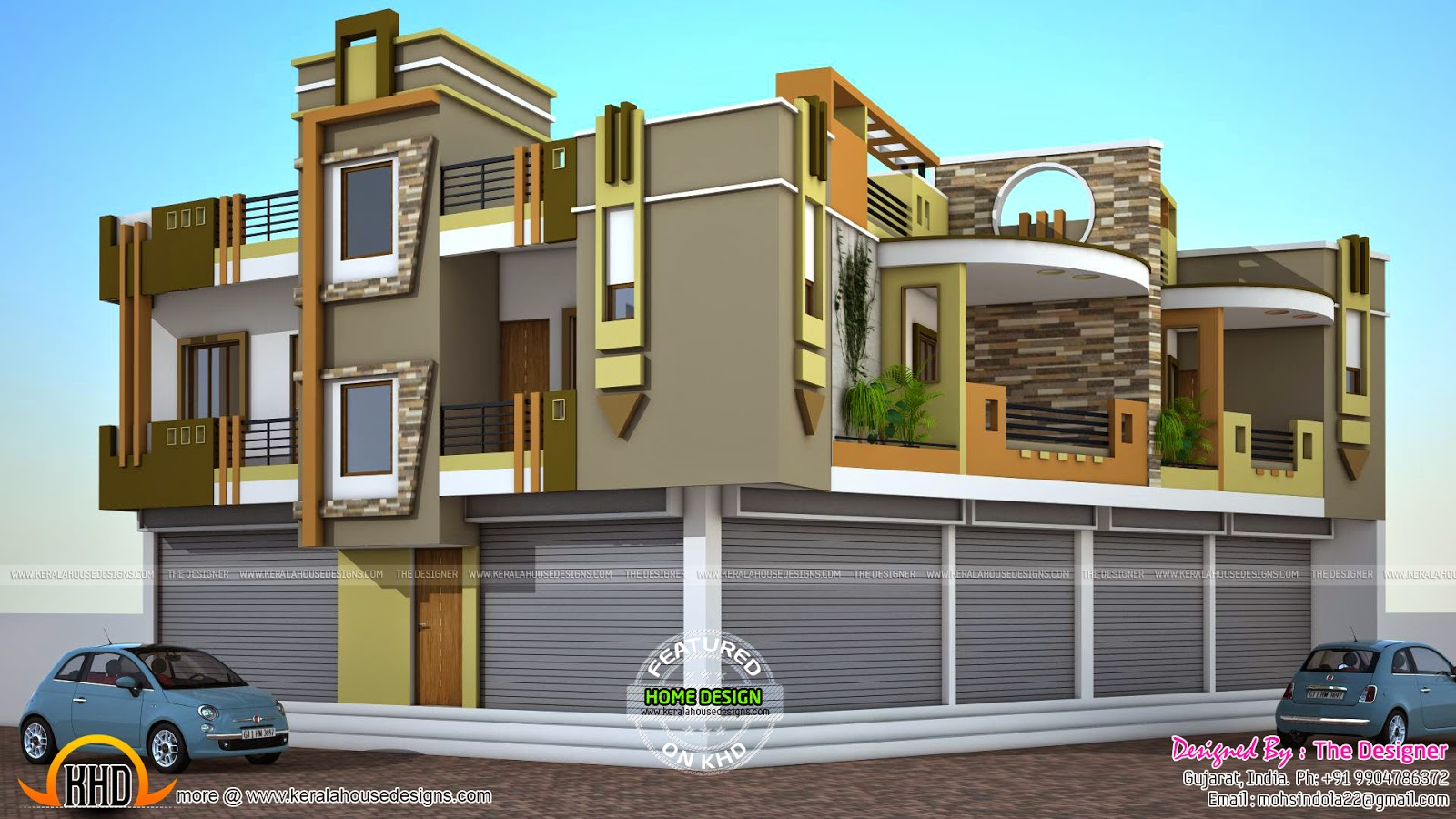 2 house plans with shops on ground floor kerala home for House elevation for three floors building