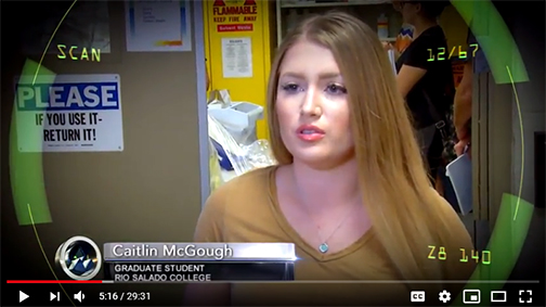 Snapshot from MCTV video, featuring Caitlan on camera at ASU lab