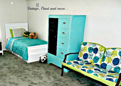 Vintage, Paint and more...  a loft diy'd  into a teen worthy guest room with a beach feel -