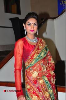 Model Sharon Fernandes Stills in Red Saree at Trendz Exhibition Launch  0007.JPG