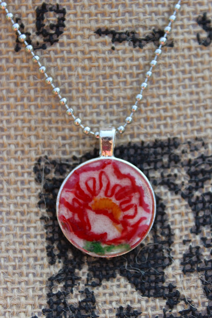 vintage embroidery necklace with red flower