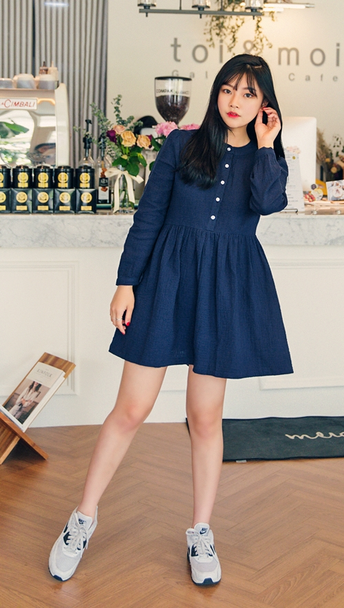 Crinkled Cotton Shirtwaist Dress