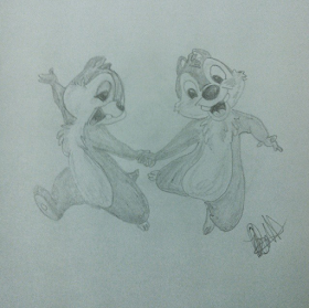 Disney Illustration Study by Jo Linsdell, Chip and Dale #Disney #Sketch #Illustration