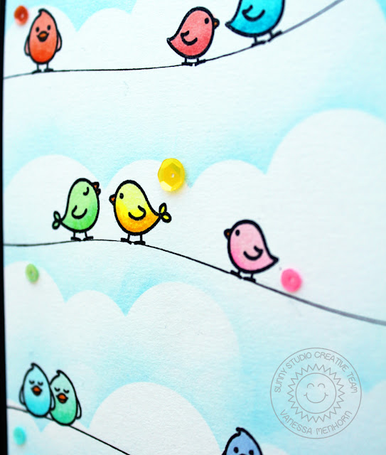 Sunny Studio Stamps: A Birds Life Barnyard Buddies Birds On A Wire Card by Vanessa Menhorn