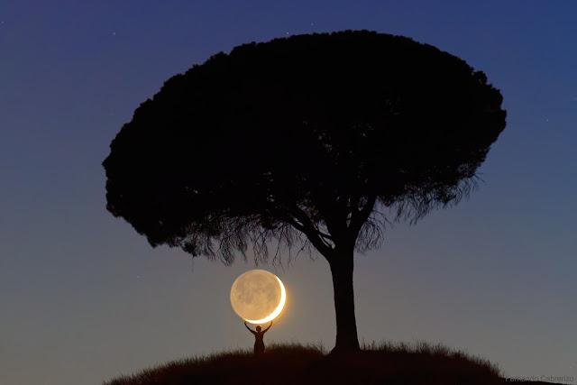 Hái trăng tặng người yêu. Hình ảnh: Fernando Cabrerizo.