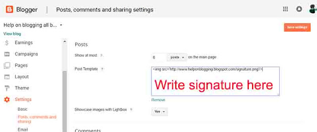 Add signature to blogger post