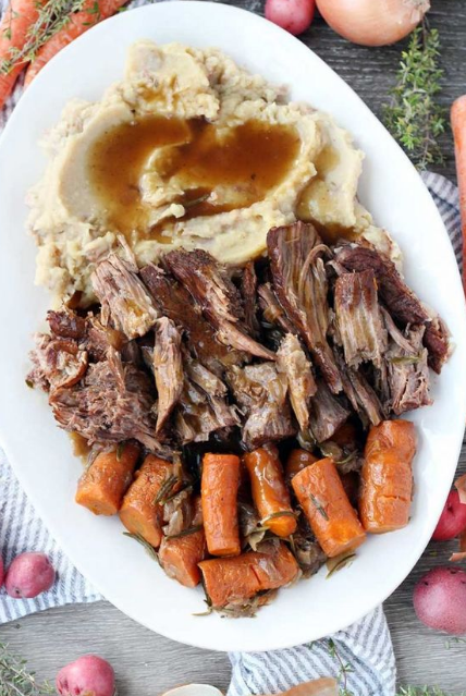 INSTANT POT POT ROAST WITH MASHED POTATOES AND GRAVY