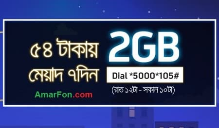 Grameenphone 2 GB Internet Night Data Pack 54 Taka Offer