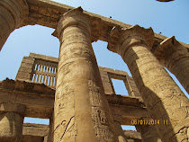 Some of the 134 massive columns of the Temple of Karnak at Luxor, Egypt