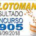 Resultado da Lotomania concurso 1905 (28/09/2018) ACUMULOU!!!
